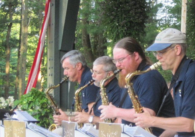 Saxophonists perform